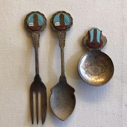 Kyпить Vintage Maldon & Warragal Souvenirs Silverplate Teaspoons & Fork LOT x 3  на еВаy.соm