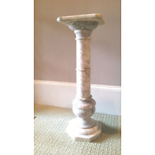 White Carved Marble Column Stand