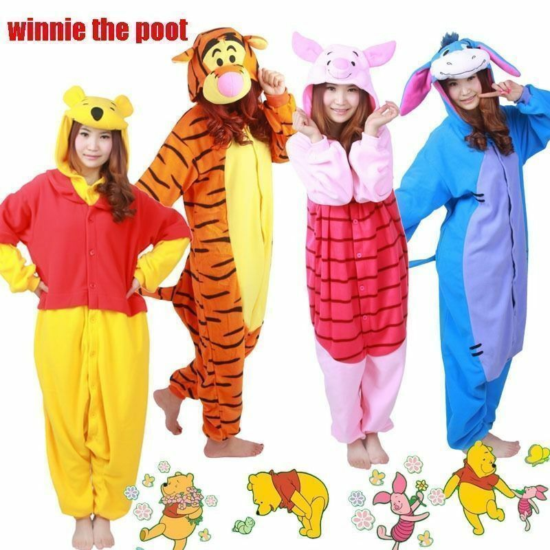 1cb8cbf0e0 Details about Unisex Adult Winnie The Pooh Flannel Onesie11 Cosplay Costume  Kigurumi Pajamas
