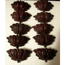 Vintage Lot of 10  Mahogany Carved Wooden Ornate Drawer Pulls 3L x 1.5W