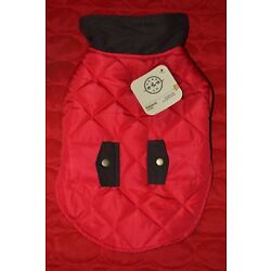 Bond & Co. Dog Jacket Red Quilted with Brown Trim Size: Small or Medium