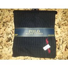 POLO Ralph Lauren Mens Winter Beanie Hat Scarf Set RIBBED Lambswool Navy