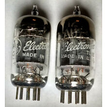 2 - GE 12AU7A 1956 PreAmp  American Made Tubes - Tested GOOD! (pair)