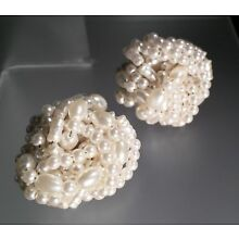 Vintage Retro Large White Pearl Wrap Cluster Clip-On Earrings +gift