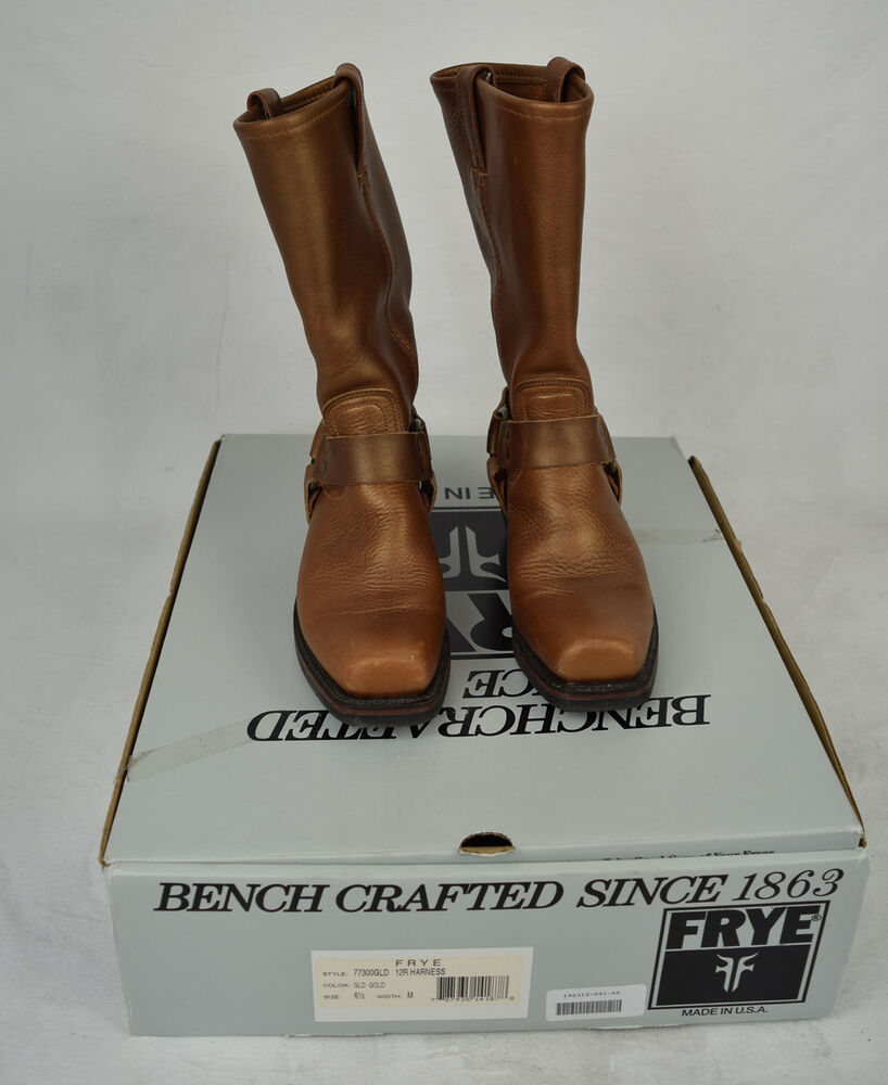 a4fac00f231 Frye Boots Harness Leather Gold Motorcycle 6 1/2 Womens 77300 787935141878  | eBay