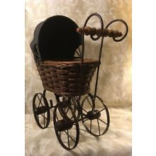 """Vintage Wicker/Wood wrought iron Decorative BabyCarriage/Stroller 18""""T X13""""W-7""""D"""