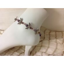 DRAGONFLY BEADED ANKLET WITH STERLING ACCENTS