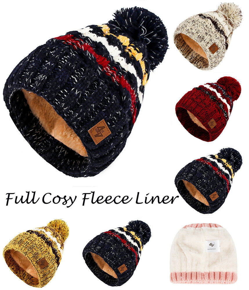 dd9c2e92449 Details about Mens Womens Cable Knitted Bobble Hat Plain Beanie Very Warm  Winter Pom Wooly Cap