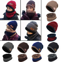 USA Baby Kids Girl Boy Toddler Winter Warm Knit Crochet Beanie Hat Cap Bib Scarf