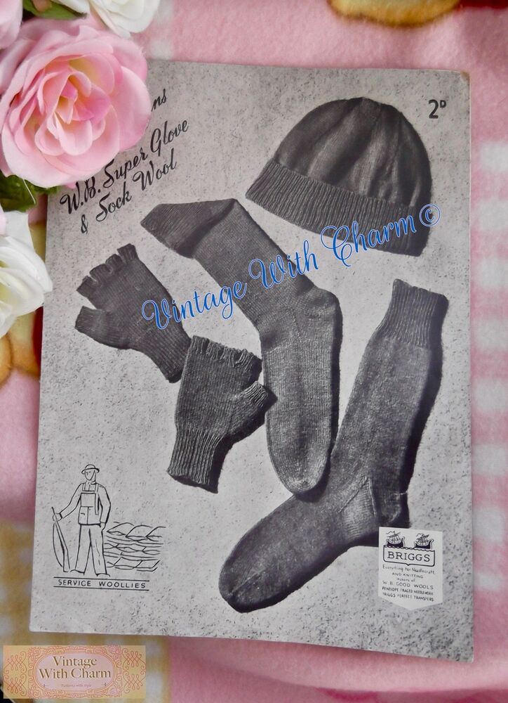 Vintage 40s Armed Forces Knitting Pattern Service Woolies Ww2