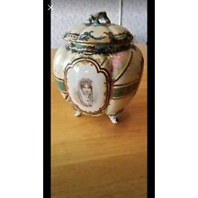 Antique Queens Portrait Large Lidded Porcelain Jar