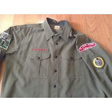 Boy Scouts of America LS Adult Leader Uniform Shirt Green Some Patches XL-???