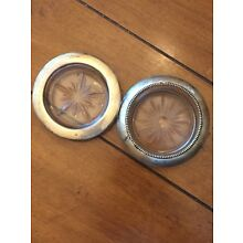 2 VINTAGE STERLING SILVER AND CRYSTAL COASTERS
