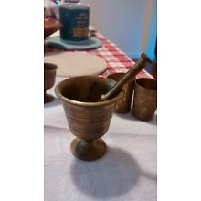 Antique Brass Mortar and Pestle Great  Patina- LOT