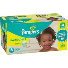 Pampers Swaddlers Disposable Diapers Size 6, 108 Count - FREE SHIPPING