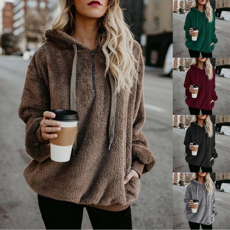 a1552b1c96 Details about US Fashion Women Winter Sweaters Warm Fleece Hooded Pullover  Hoodie Coat Tops BD
