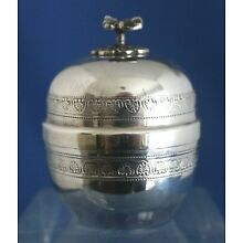 Turkish 900 Judaica Silver Pill Spice Snuff Round Box/Floral Lid Marked 900/E69