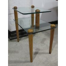 GILBERT ROHDE WOOD & GLASS 2 TIER END TABLE mid century deco side herman miller