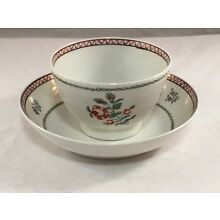 ANTIQUE PORCELAIN 18TH CENTURY ENGLISH CUP AND SAUCER ROSE CHINESE EXPORT STYLE