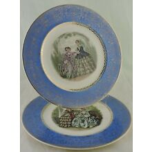 ANTIQUE PLATE/CHARGER VICTORIAN DRESS LADY SCENE BLUE & GOLD RIM PAIR