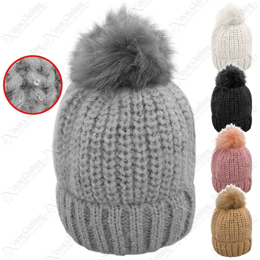 28fec172bed Details about NEW LADIES SEQUIN CHUNKY HAT KNIT LARGE FAUX FUR POM POM WOMEN  SKI SLOUCH BEANIE