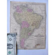EARLY ANTIQUE 1851 Tinted Mitchell MAP of SOUTH AMERICA, Amazon, Peru, Patagonia