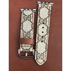 Apple Watch Band Series 1 2 3 4 42mm Or 44mm Gucci Brown Stitch Stainless