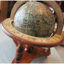 Vintage 1960 ~Old World Globe~Zodiac/ Astrology~ With Wooden Stand~Made in Japan