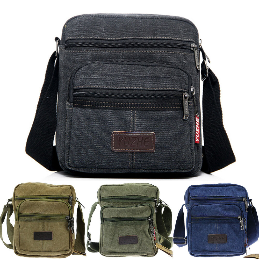4631fede18e Details about Men s Canvas Cross Body Bag Messenger Shoulder Book Bags  School Satchel Vintage