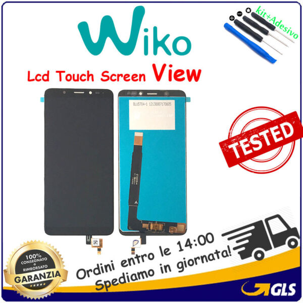 TOUCH SCREEN VETRO + LCD DISPLAY Monitor Schermo ASSEMBLATI Wiko VIEW Nero