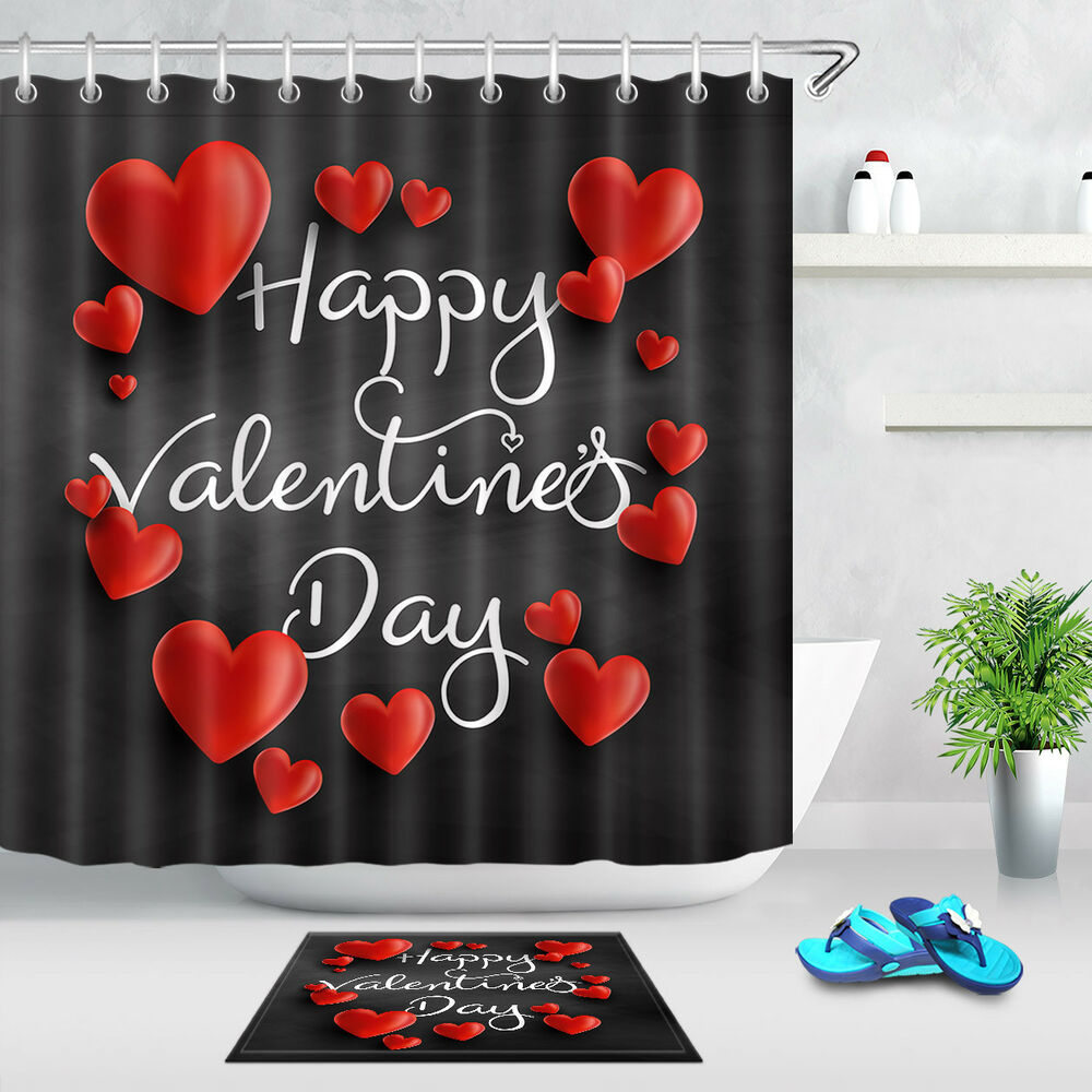 Details About 72 Fabric Shower Curtain Set Happy Valentines Day Black Background Red Hearts