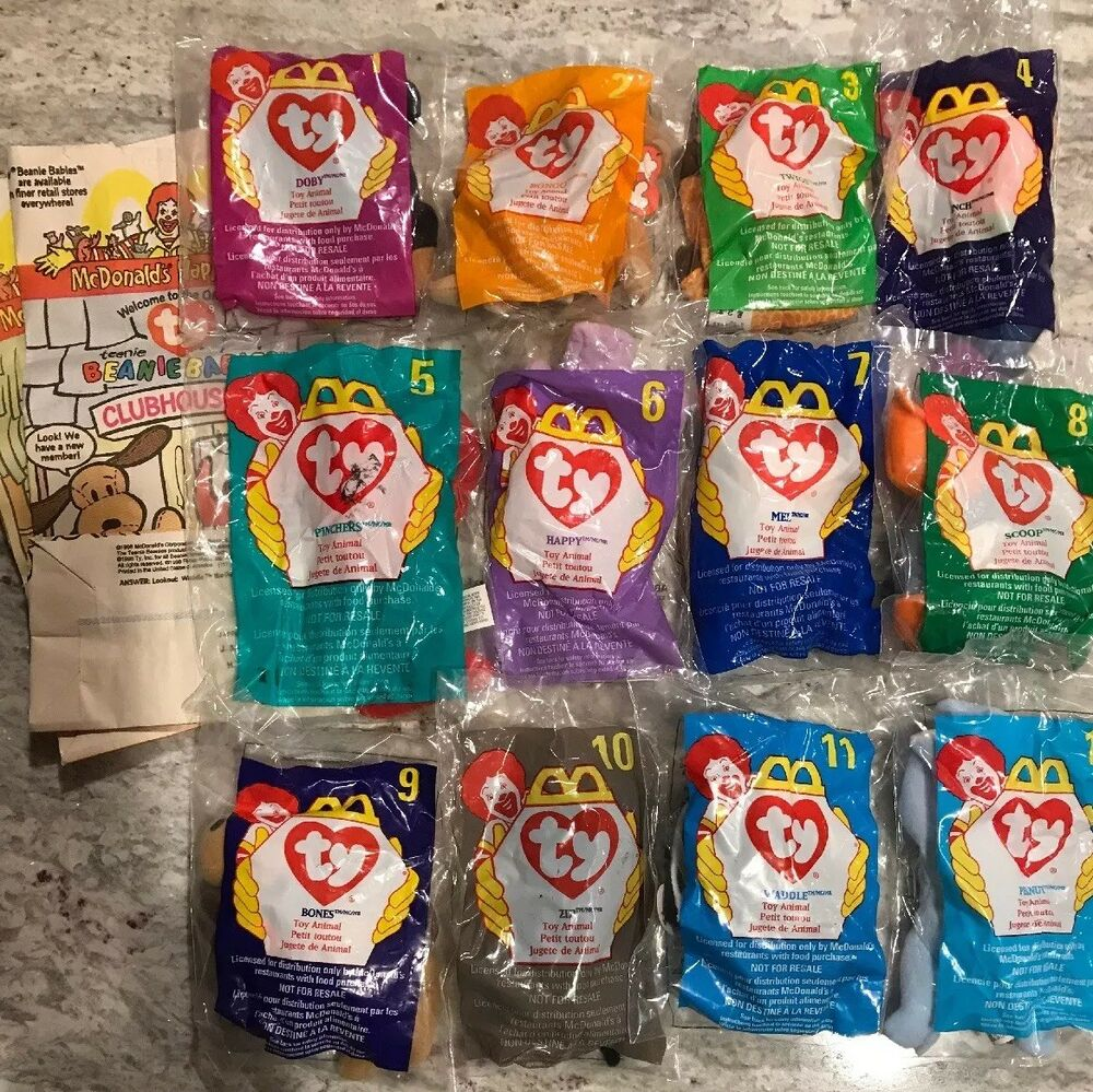 Details about 1998 McDonald s Happy Meal Set of 12 Ty Beanie Baby Plush  Complete + 2 Bags aaa6afcb18d