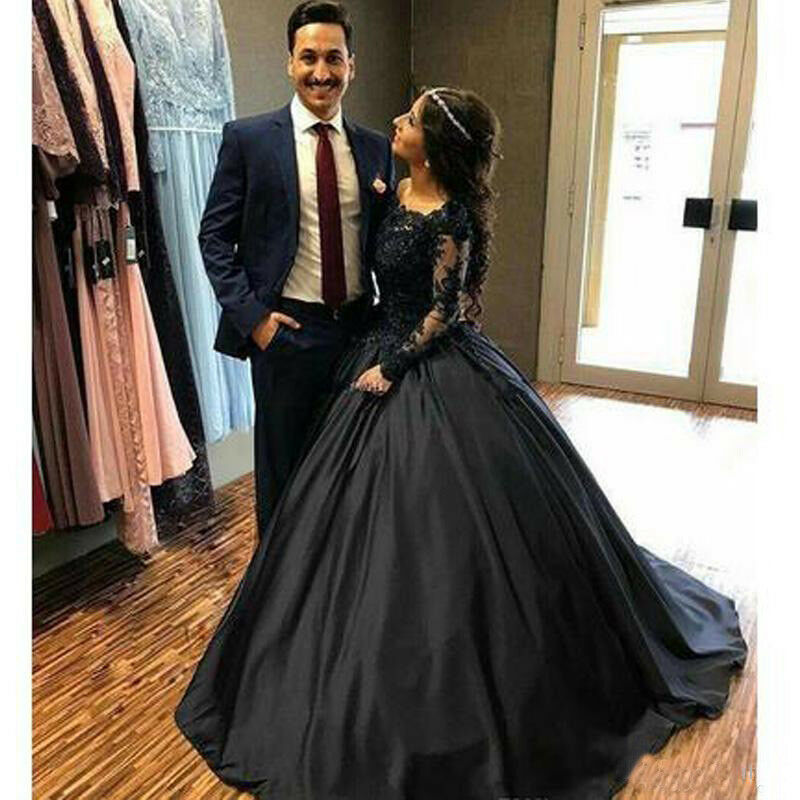 Gothic Black Lace Wedding Dress Long Ball Gown Bridal Gown: Black Lace Satin Gothic Wedding Dresses With Long Sleeves
