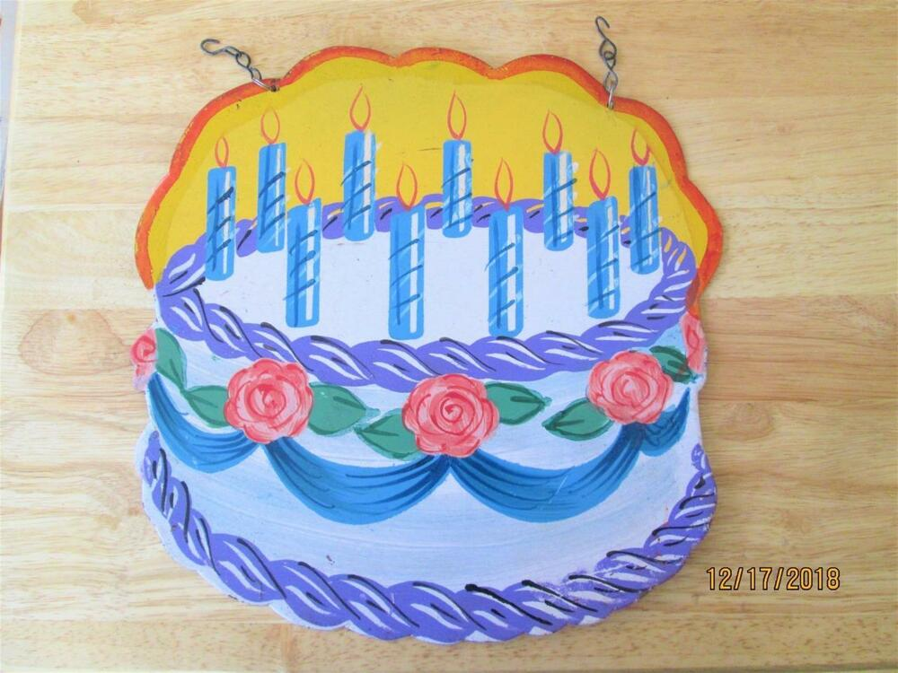 VINTAGE HAPPY BIRTHDAY CAKE WITH FLOWERS AND CANDLES METAL SIGN MADE