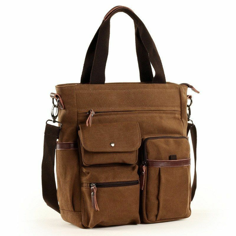 Details about Men Large Canvas Tote Waterproof Bags Women Multi-functional  Casual Laptop Bag 3e7ab9ba6ddfb
