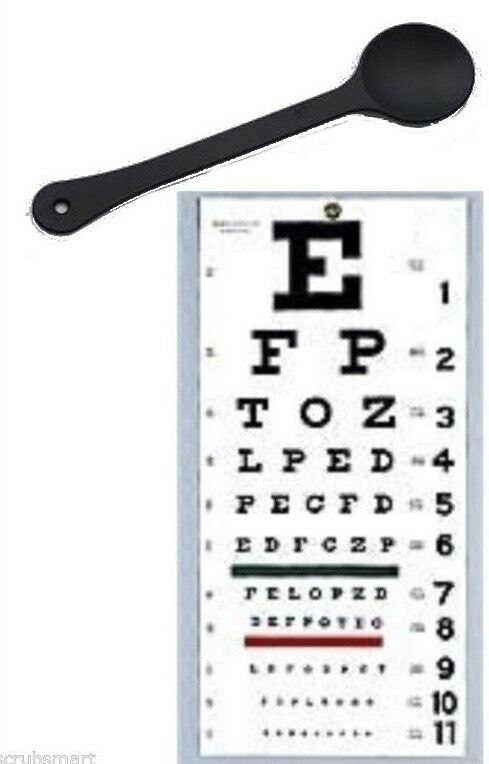 Details About Occluder Wall Snellen Eye Exam Vision Test Chart 22 X 11 Combination Set