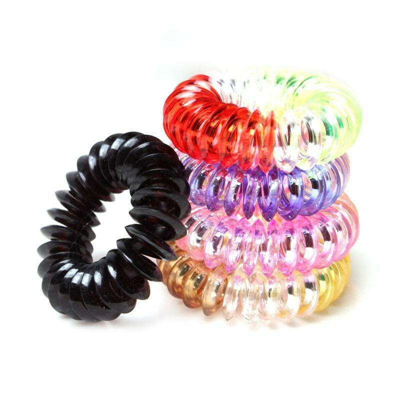 Details about Women Girls Plastic Spiral Hair Ties Rope Telephone Wire Coil  Ponytail Holder 04623ab2659