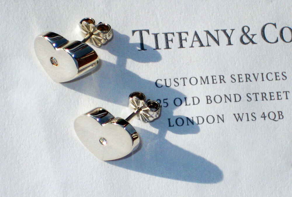 2876f2970 Details about Tiffany & Co Paloma Picasso Sterling Silver Modern Heart  Diamond Earrings