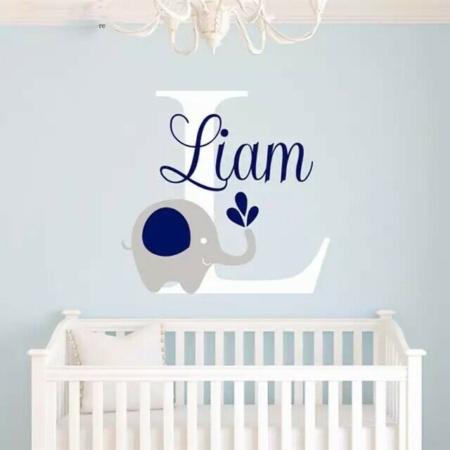baby room art decor custome baby name decal elephant wall sticker