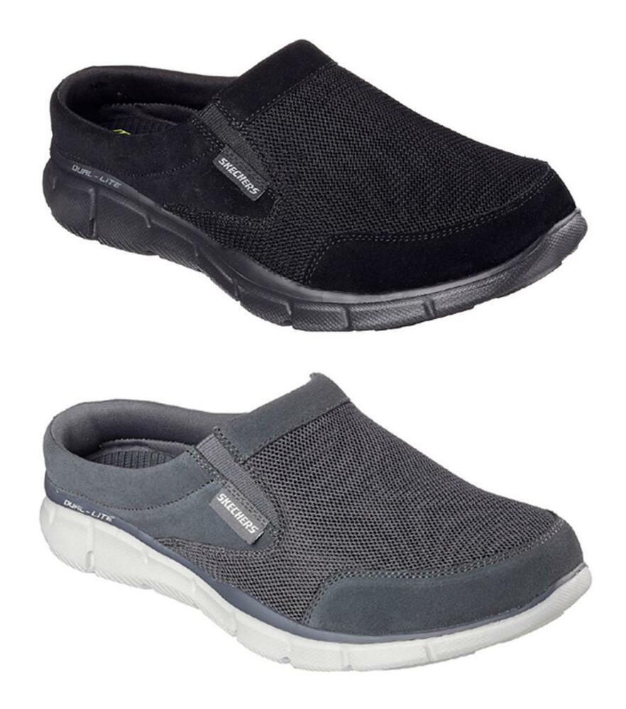 c81c9c516897 Details about SKECHERS Men s Memory Foam Slip On Open Back Sneakers Shoes  in Black and Gray
