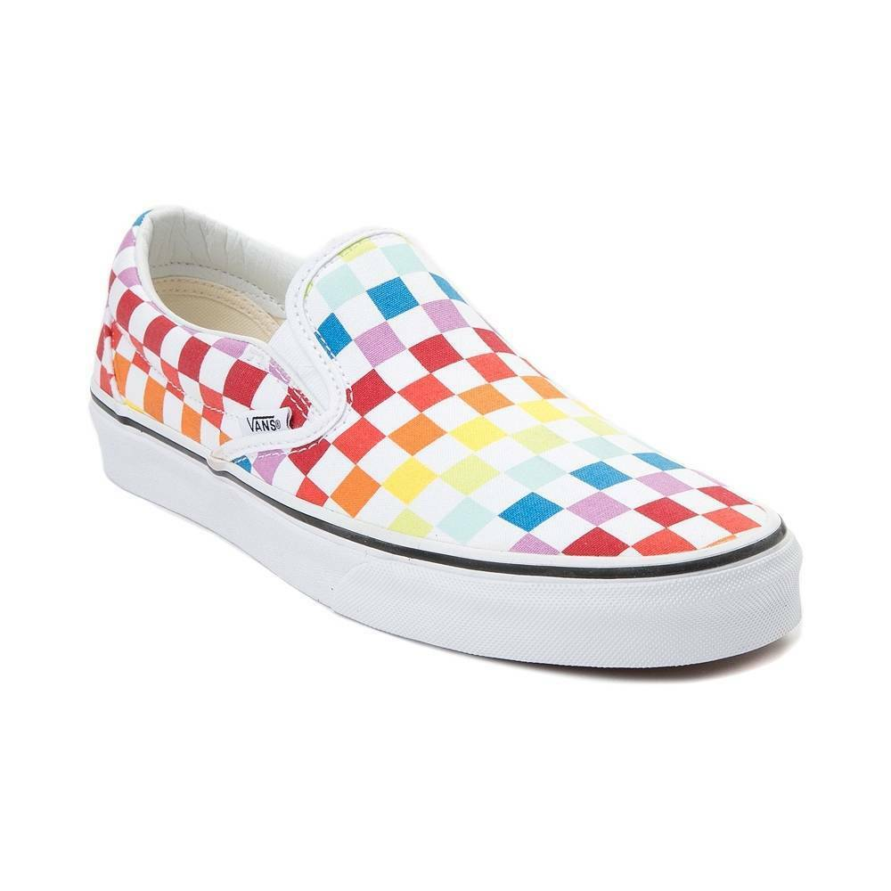 new style 4a42a 095ec Details about NEW Vans Slip On Rainbow Checkerboard skate classic women s  shoe pride LGBTQ