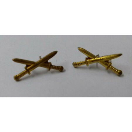 img-Genuine Vintage Military Issued Small Crossed Swords Insignia Badges 1 Pair BRS