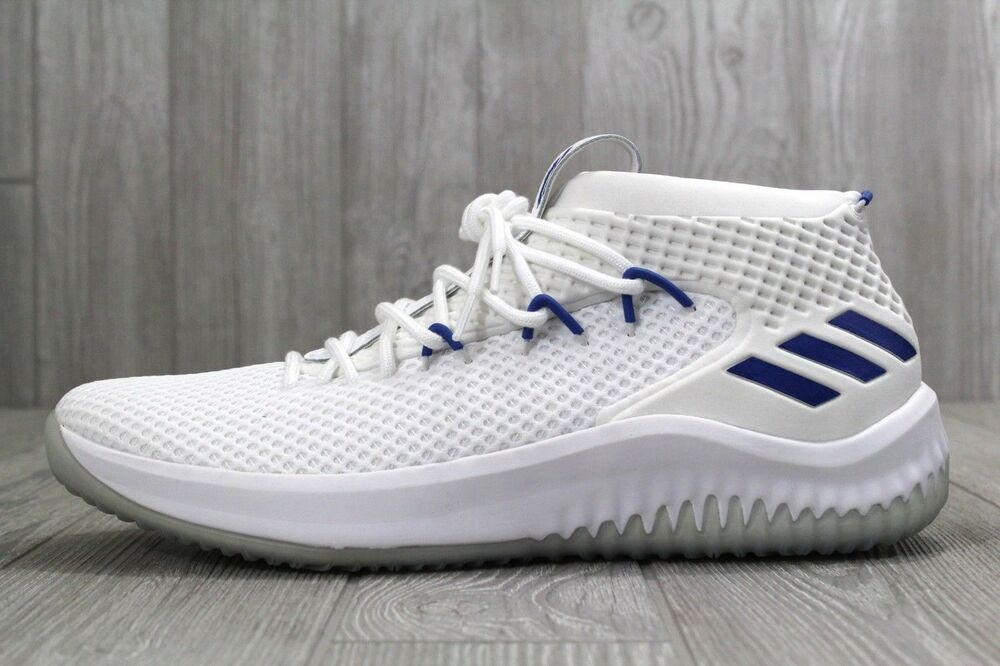 low priced 3485b f94e5 Details about 33 New Adidas Dame 4 Basketball Shoes WhiteBlue Mens Size  15 AC8648