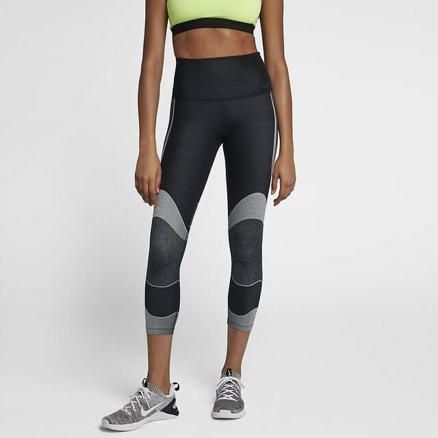 Details about NIKE POWER LUX   MID-WAISTED WOMEN S TRAINING CROPS  BLACK GREY (890672-010) S 6d0f6d1e0