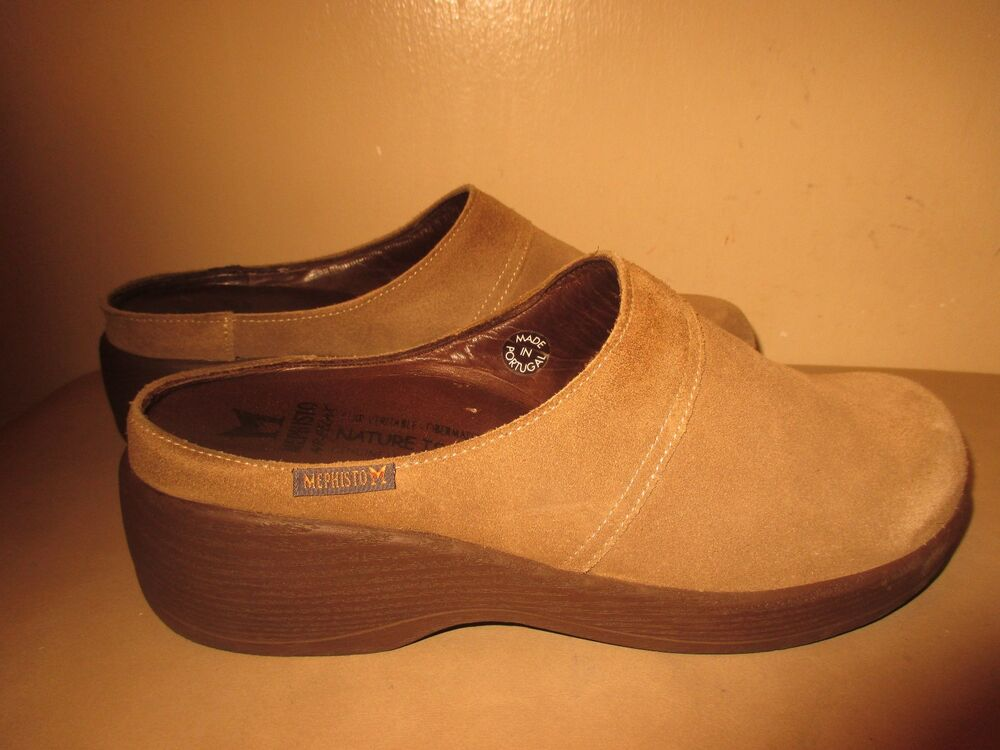 548b554bb74 Details about Mephisto Air Relax Women Beige Wedge Clog Mules Shoe Size 7 M