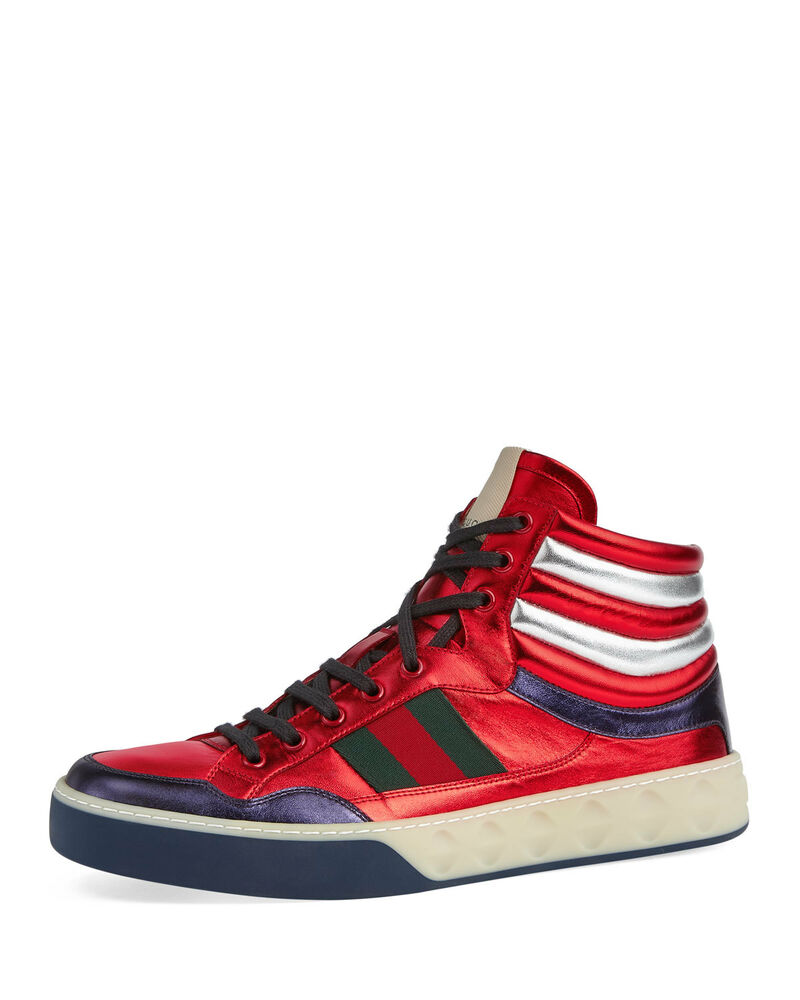 5eae5402d414 Details about NEW Gucci Men s Metallic Web Leather High-Top Sneakers Red 14  G   US 15
