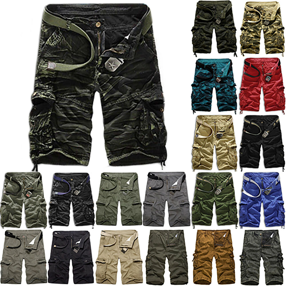 4475756e6c Details about Casual Mens Beach Summer Army Combat Camo Work Cargo Shorts  Pants 3/4 Trousers