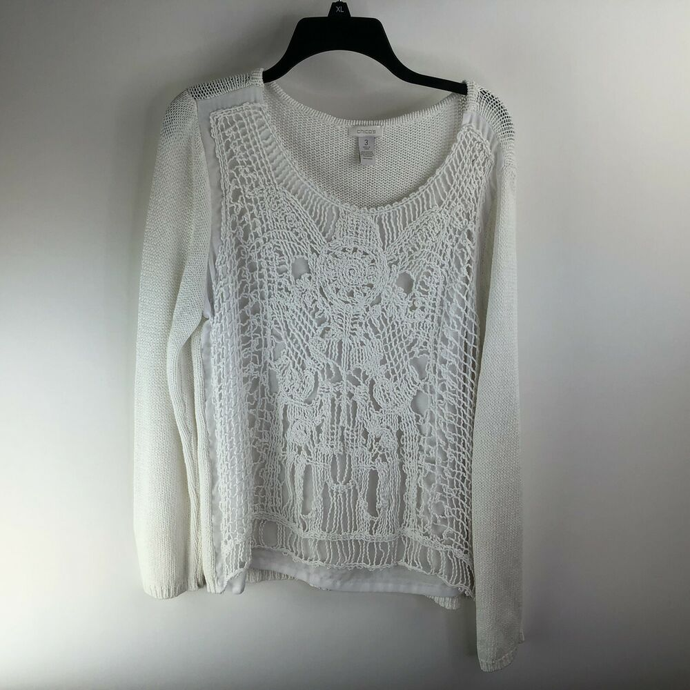 Details about Women s Chico s Size 3 Lace Front Sweater Ivory 7633120bc