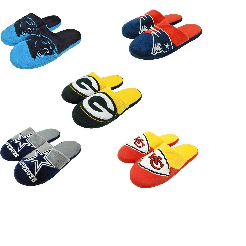 4c002118899 Details about Forever Collectibles NFL Men s Colorblock Slide on Slippers -  Pick Your Team
