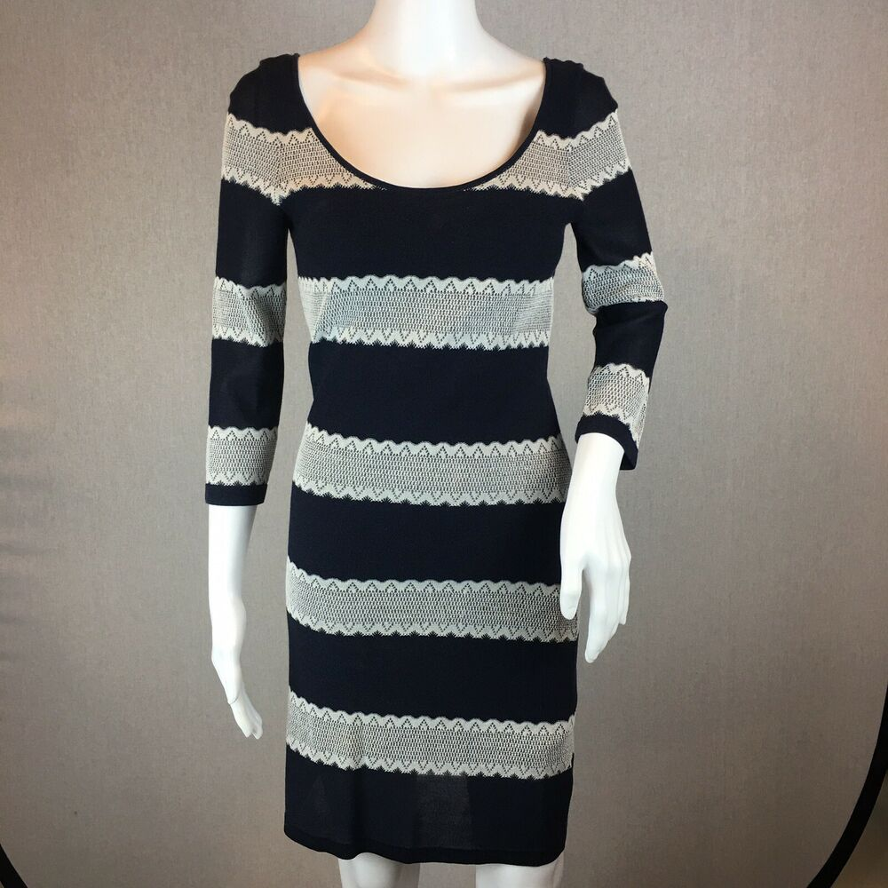 45dcacc1e10 Details about Gianni Bini Sheath Dress Size Small Striped Long Sleeve Round  Neck Pullover